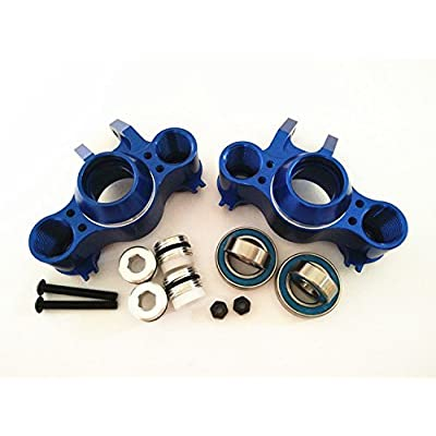 for 1/10 RC Car E-REVO REVO 3.3 Summit E/MAXX T/MAXX 3.3 Slayer Pro 4X4 5334R Front or Rear Aluminum Steering Block Knuckle ARM with Rubber Shielded BEARINGS-1PR Set Blue: Toys & Games