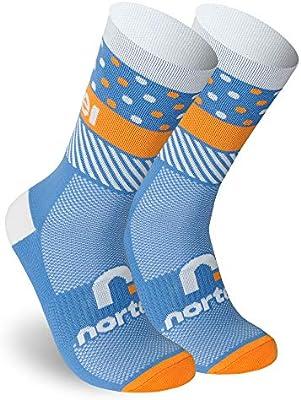 NORTEI - Calcetines de Ciclismo, MTB y Running de Meryl para Hombre y Mujer – Hit (M(40-42), Orange): Amazon.es: Deportes y aire libre