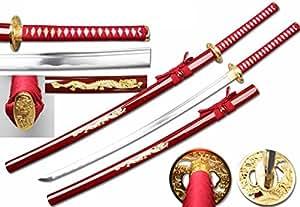 RYUJIN 1045 Carbon Steel Samurai Katana with Dragon Scabbard (Red)