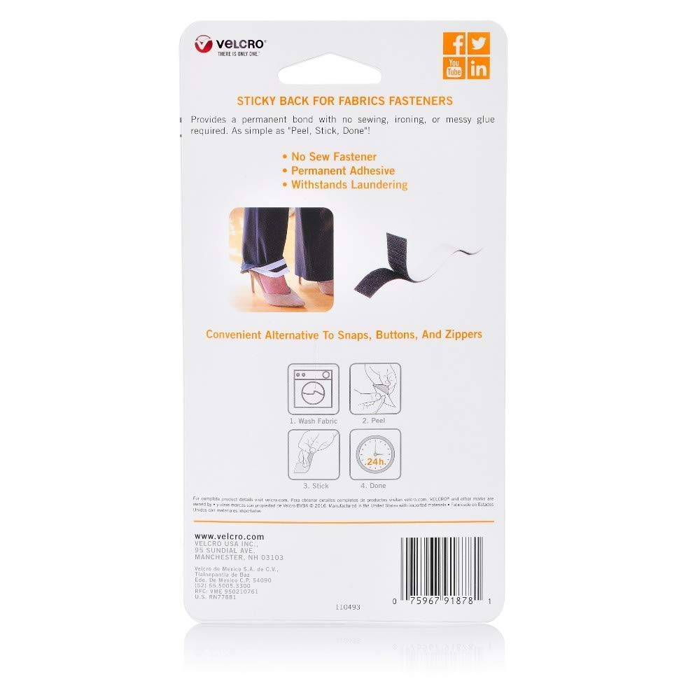 Amazon Com Velcro Brand Sticky Back For Fabrics No Sewing Needed