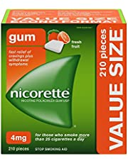 Nicorette Quit Smoking Aid, Nicotine Gum smoking cessation aid, Fresh Fruit, 4mg, 210 Pieces Value Size