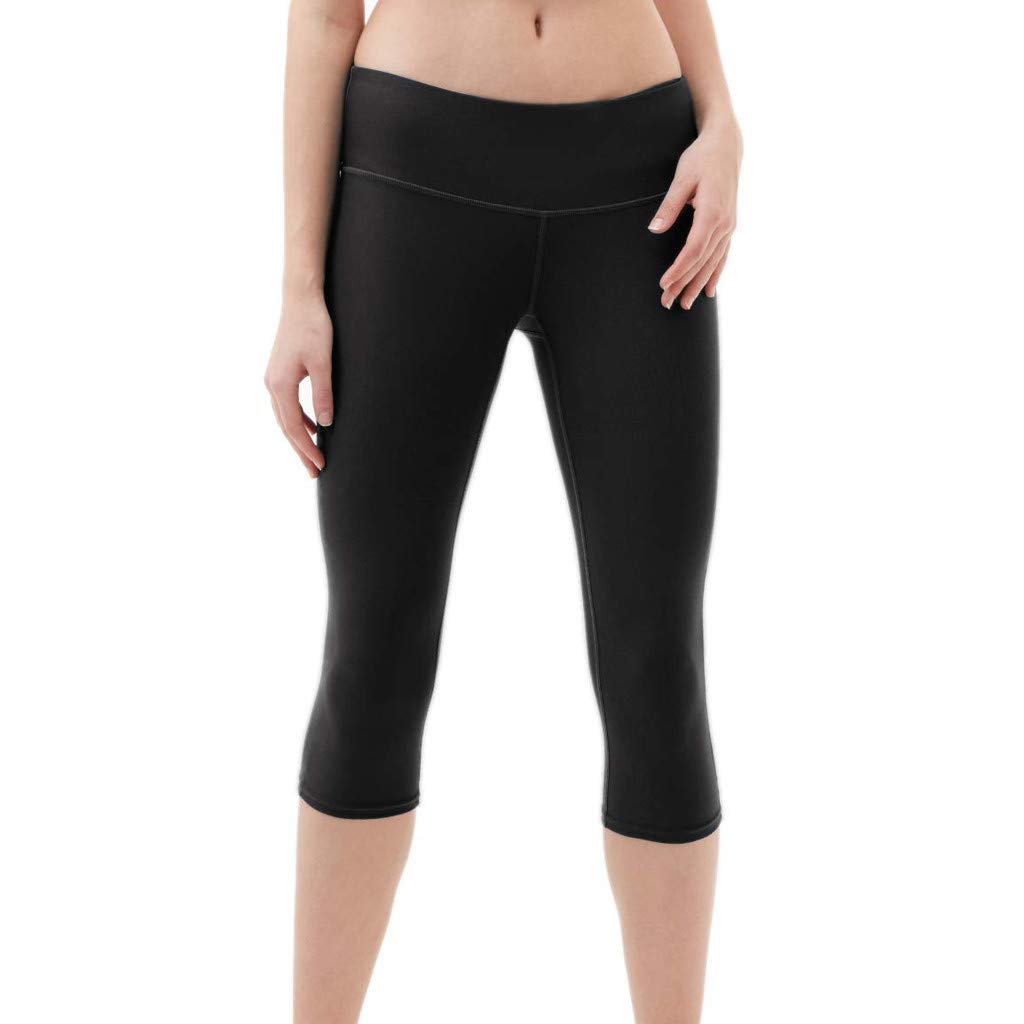 4Clovers Women's Yoga Pants Tummy Control Workout Running 4 Way Stretch Fabric Active Leggings Black