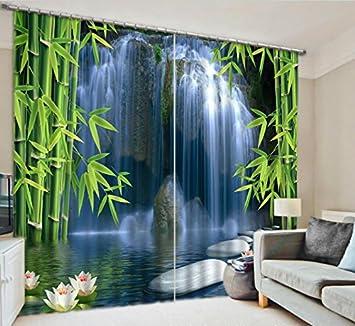 Gfywz Vorhange Polyester 3d Bambus Wasserfall Visier Raum Druck