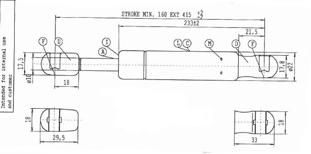 Stabilus 1000 N Di Spinta 6374VB Nero Molla A Gas Lift-O-Mat
