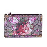 Gucci Soho Metallic Leather Chain Crossbody Bag Peonia Flower Tulip Pink Purple New