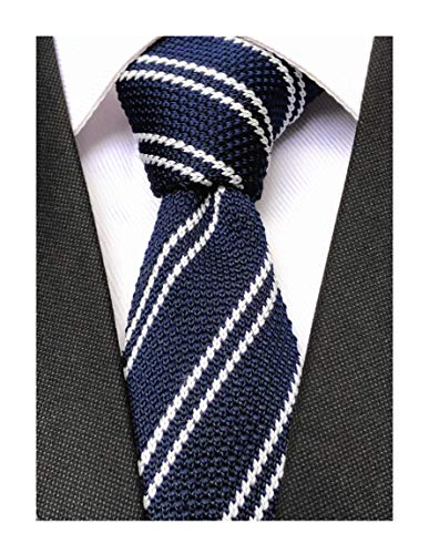 Men's Wide Striped Navy Blue White Wool Knit Ties Border Patterned Slim Fashion Necktie for Wedding