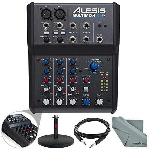 Alesis MultiMix 4 USB FX 4-Channel Mixer & USB Audio Interface Basic Bundle w/Cable + Mic Stand + Fibertique Cloth (Alesis Audio Mixer)
