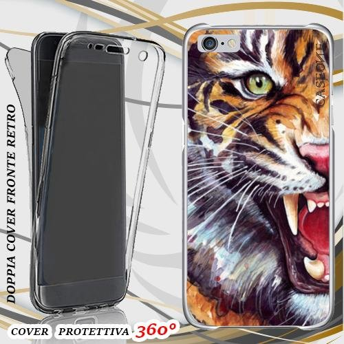 CUSTODIA COVER CASE OCCHIO TIGRE PER IPHONE 6 FRONT BACK