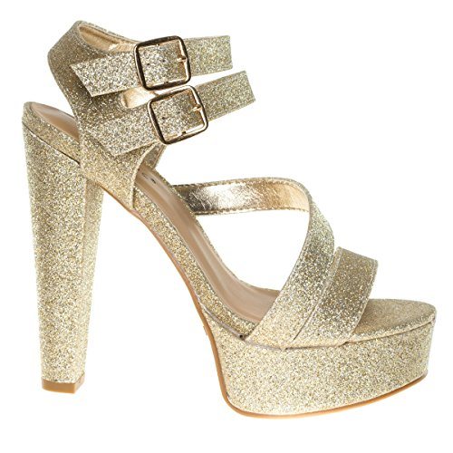 Clarice42s Goldglt Chunky Block Heel Dress Sandal  Retro Open Toe Double Strap Shoes  7