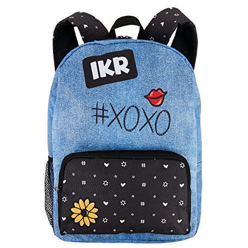 Denim and Black School Supplies Childrens Canvas Backpack Book -