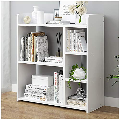 Naiflowers Home Bookshelf Rack Multi-Tier Bookcase Shelf Storage Organizer Wood Look Book Case Storage Shelf Standing Organizer Book-Shelf Rack (White)
