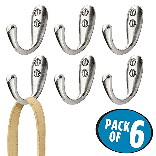 - mDesign Wall Mount Decorative Aluminum Single Storage Organizer Hook for Coats, Hoodies, Hats, Scarves, Purses, Leashes, Bath Towels & Robes – Heavy Duty, Hardware Included, Pack of 6, Brushed Nickel