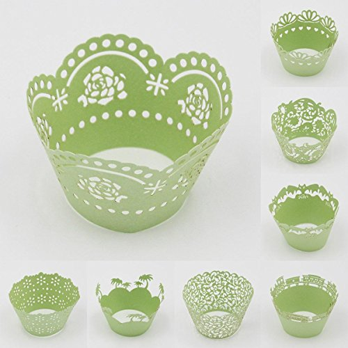 Sophiebella 60-count Green-Cupcake-Wrappers Decorating Supplies for Paper-Baking-Cups for Wedding Holiday - 5 Packs, Random 5 Styles
