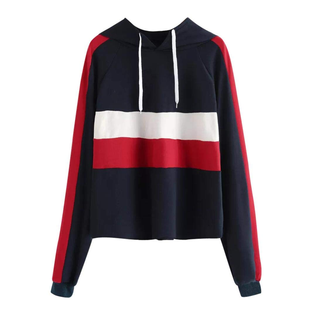 HTHJSCO Women's Pullover Hoodie Sweatshirt, Striped Patchwork Long Sleeve Casual Hooded Shirt Blouse (Navy, L)