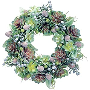 Ten Waterloo 18 Inch Succulent Wreath with Echeveria and Mixed Succulents, Spring and Summer Wreath, Artificial Plants 51