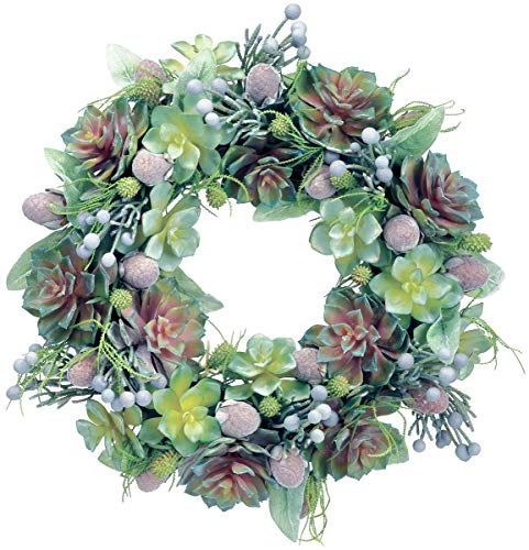 Ten Waterloo 18 Inch Succulent Wreath with Echeveria and Mixed Succulents, Spring and Summer Wreath, Artificial ()