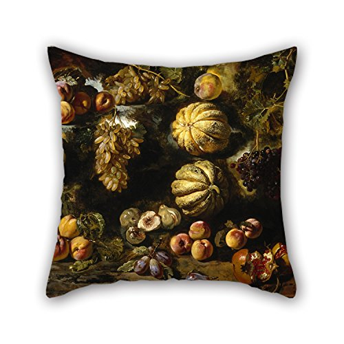 Alphadecor Oil Painting Michele Pace Del Campidoglio - Still Life With Melons, Peaches, Figs, And Grapes Cushion Covers 20 X 20 Inches / 50 By 50 Cm For Him,lover,sofa,monther,living Room,gril Frie