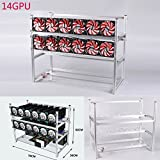 14 GPU Open Air Mining Rig Aluminum Stackable Frame Miner Case With 12 Fans For Ethereum(ETH)/ETC/ ZCash/Monero/BTC(Silver)