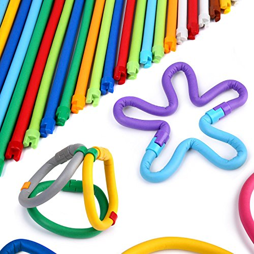 Peradix Building Toys 111 PCS Flexible Building Sticks for Kids Learning Toys Set Educational STEM Activity, DIY Gift Soft Bendable Sculpting Sticks Motor Skill Brain Training Toys with Storage Bag