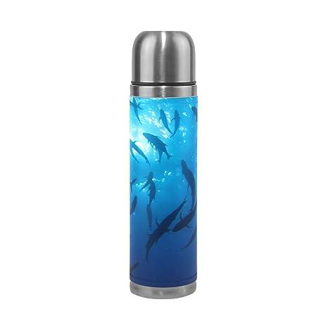 Eslifey Sharks Botella de agua a prueba de fugas, doble ...