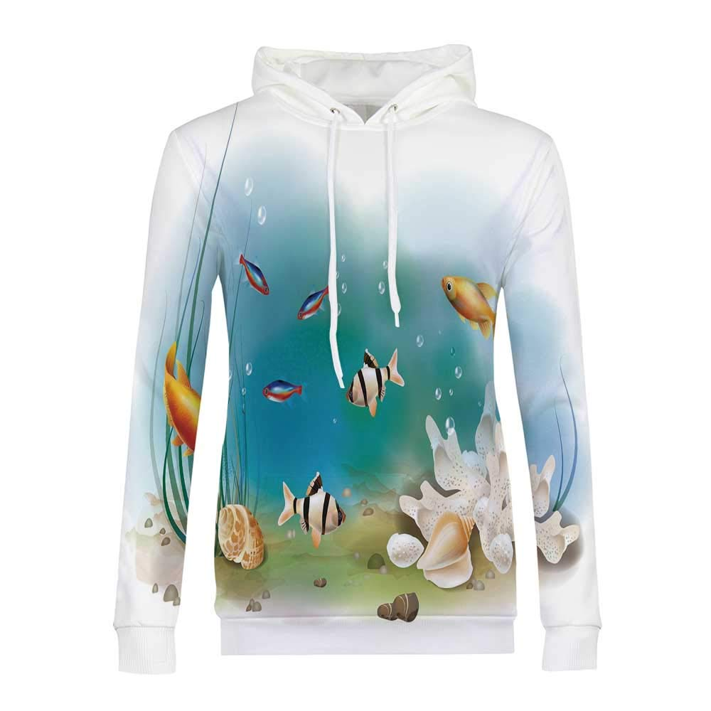 Aquarium Modern and Simple Hoodies,for Women,M by YOLIYANA