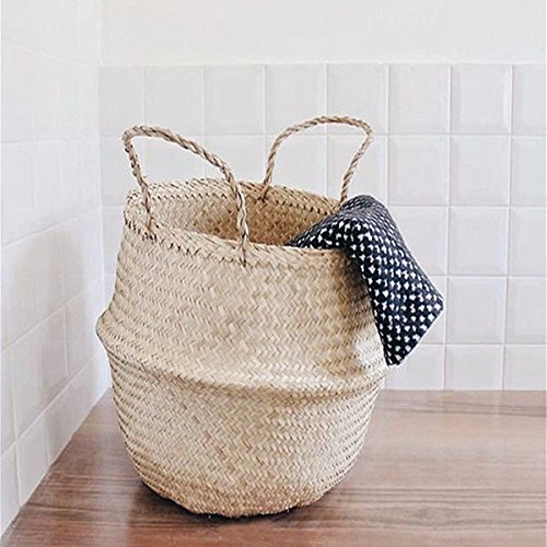 KINGSO 45x35cm Collapsible Seagrass Tote Belly Basket Laundry Basket Storage Plant Nursery Toys Home Panier Boule with Handles