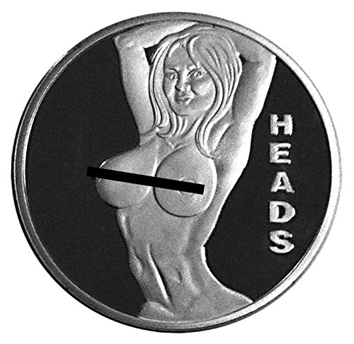 Sexy Stripper Pin Up Good Luck Heads Tails Challenge Coin - Gift for Men by Thompson (Silver Finish Challenge Coin)