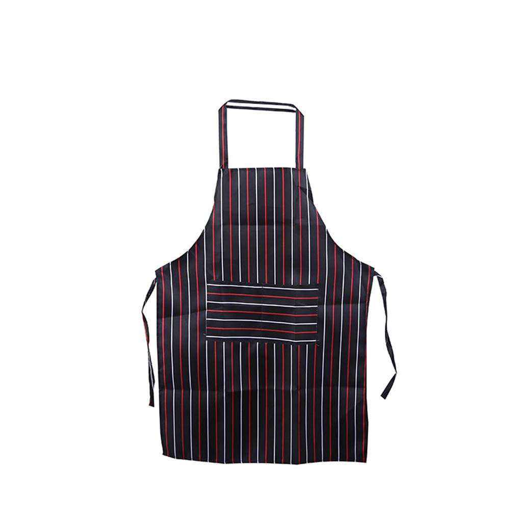 Women Men Kitchen Apron Simple Stripe Kitchen Cooking Aprons with Pocket for Cooking Grill and Baking (Red)