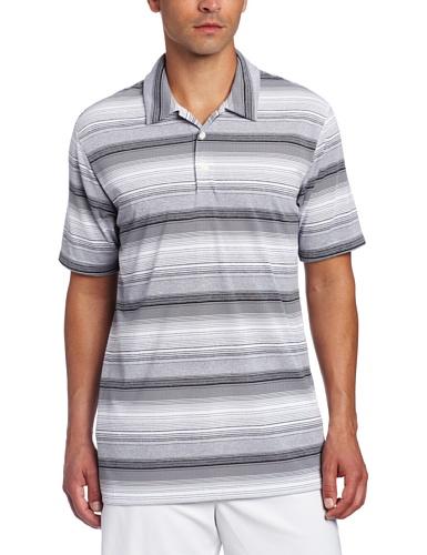 - adidas Golf Men's Climalite Heathered Ombre Stripe Jersey Polo, White/Black/Chrome Heather, X-Large