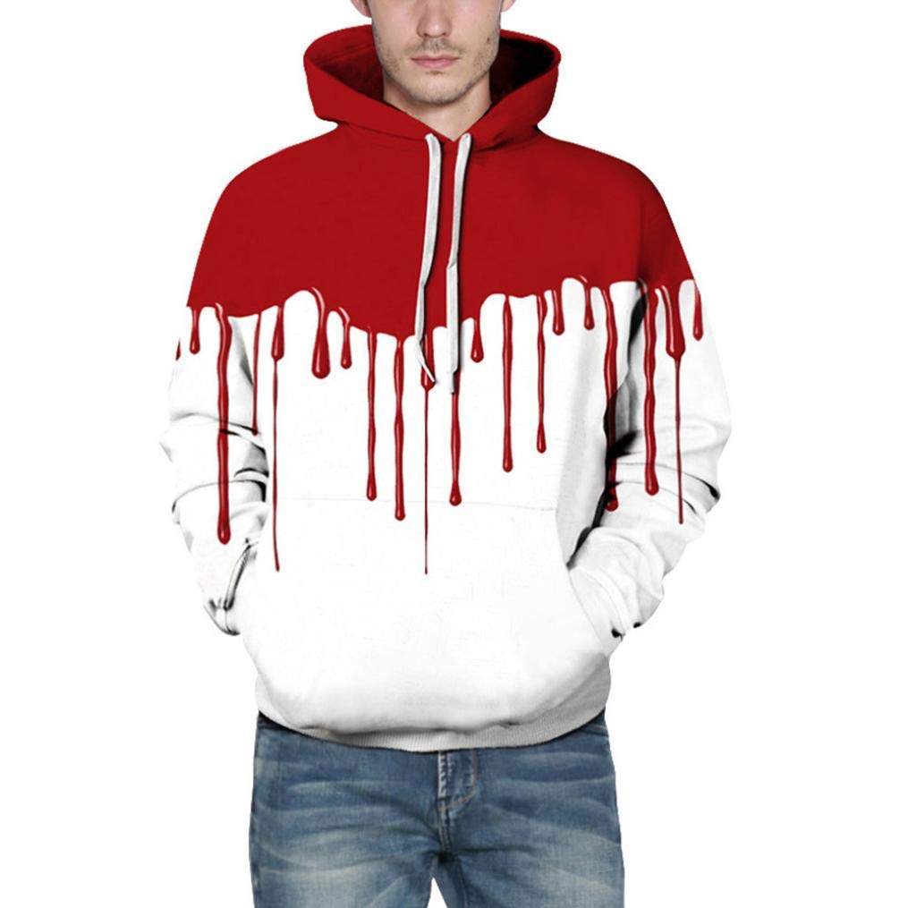 Men's Wool and Blend Coats, Fashion Hoodies & Sweatshirts, Loves' Casual Autumn Winter 3D Printing Long Sleeve Hoodies Sweatshirt Blouse (White, L/XL)