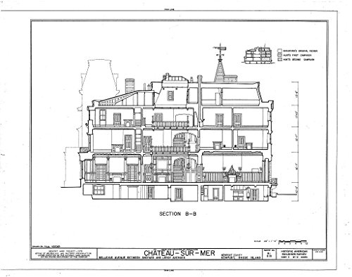 Historic Pictoric Blueprint Diagram HABS RI,3-NEWP,59- (Sheet 11 of 12) - Chateau-sur-Mer, Bellevue Avenue, Newport, Newport County, RI 44in x ()