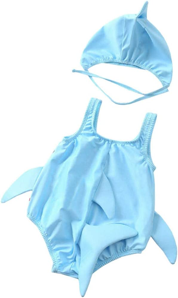 Kintaz Infant Toddler Baby Girl Cartoon Shark Swimswear Beach Bathing Swimsuits 12-18 Months, Gray