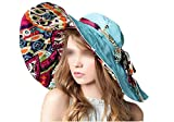 LOVEHATS Fashion Design Flower Foldable Brimmed Sun Hat Summer Hats For Women UV Protection Light Blue