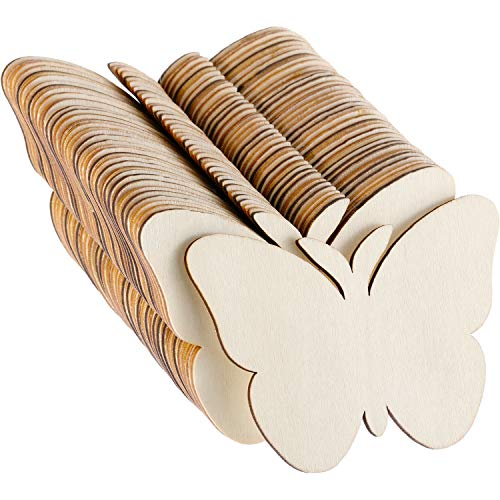 36 Pieces Blank Wood Cutouts Unfinished Butterfly Shaped Wood Pieces for DIY Arts Craft Project, Decoration, Gift Tags ()