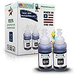 INKUTEN (TM) Set of 2 Refill Ink Kit 70ml for T6641 Black Expression Ecotank ET-2500 ET-2550 ET-4500 ET-4550 L100 L110 L120 L200 L210 L300 L350 L355 L550 L555 Printers