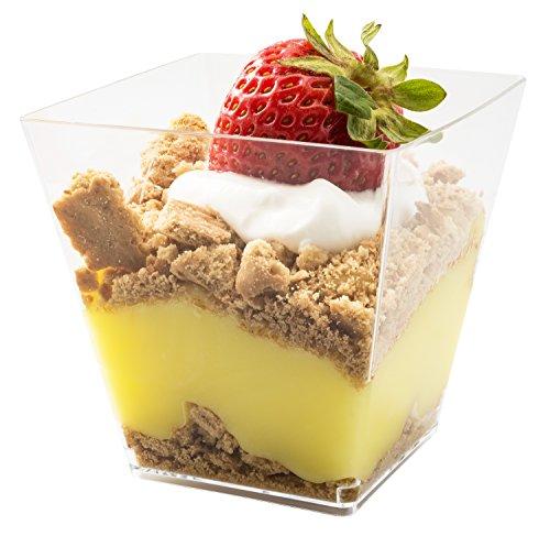 d08be84df8b8 5oz. Sturdy Modern Dessert Cup, Clear Square Plastic Cup, Stylish Parfait  Glasses Dessert Cups, Fancy Trifle Bowl