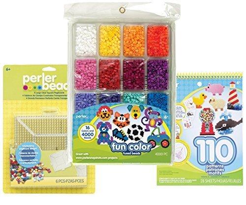 Perler Beads (4000 beads, 16 fun colors), Perler Pegboards (4 Large Square), and Perler Pattern Book, Vol. 2 (Bundle of 3 Perler Items) Perler Beads Kit