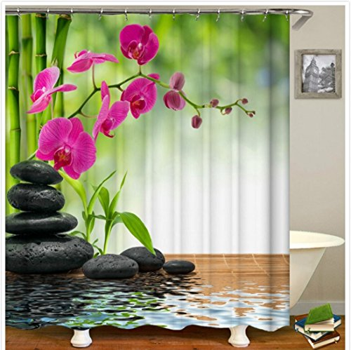 Garden Orchid Beautiful Relaxing Art Shower Curtain Waterproof & Rings ()