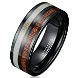 King's Cross Elegant & Refined 6mm/8mm Black Tungsten Wedding Band with Deer Antler & Koa Wood Inlays. (tungsten (8mm), 12.5)