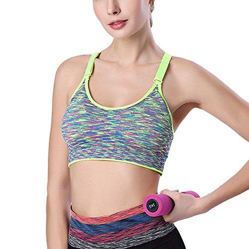 DELEY Mujeres Yoga Aerobics Danza Running Ejercicio Camuflaje Comfort Bra Sujetador De Deporte Chaleco Verde