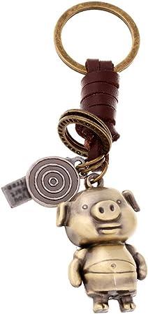 Hosaire 1x Keychain Taschenanhänger Vintage Eule Spielzeug Schwein Anhänger Leder Schlüsselbund Auto Keys Deko Anhänger Schlüsselanhänger Koffer Rucksäcke Taschen