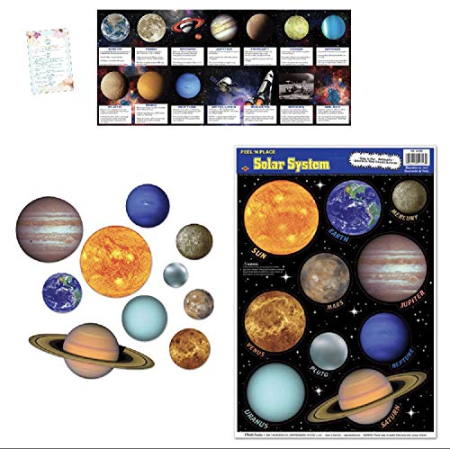 Solar System Cutouts, Window/Wall Clings, and 14 Space Fact Cards (with Party Planning Checklist)