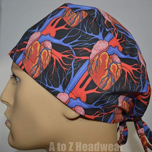 Anatomy of The Heart Black Unisex Tie-Back Surgical Scrub Hat Chemo Cap