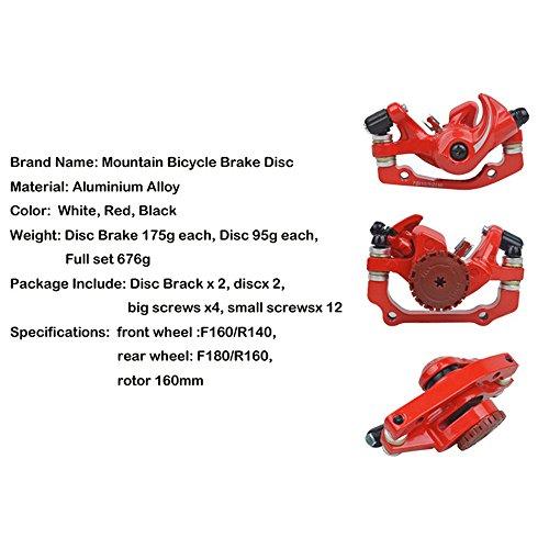 MTB Bike Front & Rear Line Pulling Disc Brake Kit Bicycle Disc Brake 160mm Universal BB5 AB Brake Lining Sheets White/Red/Black