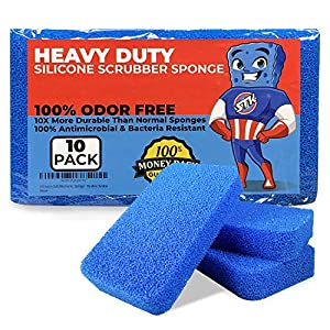 STK Heavy Duty Silicone Scrubber Sponges (10 Pack) - Modern Antimicrobial Kitchen Sponges - 100% Mold Mildew and Bacteria Resistant - Zero Smell Technology - Silicone Sponge - 10x More Durable 2