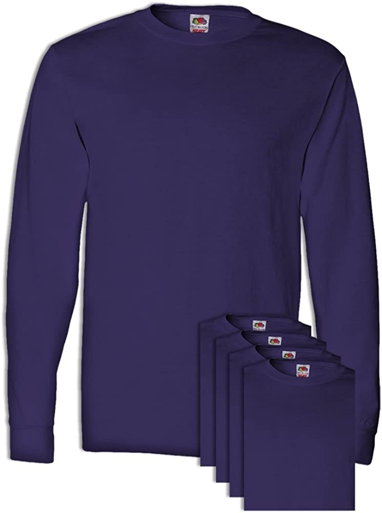 5 Pack FoTL 4930 Mens Heavy Cotton Long-Sleeve Tee 3XL Deep Purple