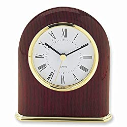 ICE CARATS Mahogany Finish Classic Dome Desk Clock Office Fashion Jewelry Gifts for Women for Her