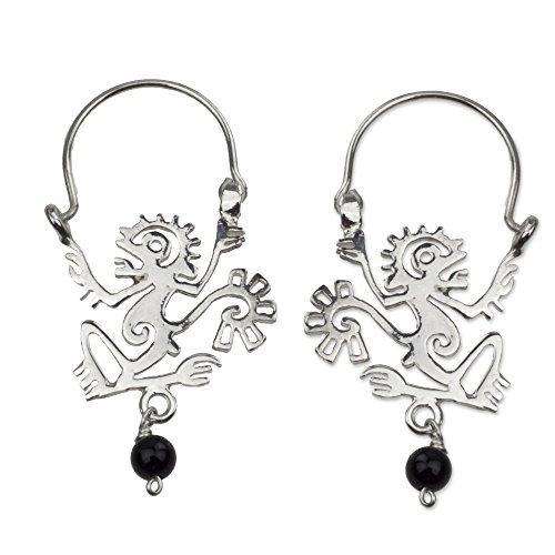 NOVICA Onyx .925 Sterling Silver Hoop Earrings 'Ozomatli Monkey'
