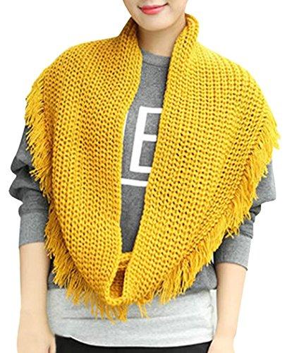 Veenajo Women Winter Sweater Knit Infinity Scarf Thick Loop Wrap Tassel Warm Cowl