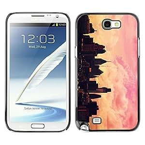 TopCaseStore / la caja del caucho duro de la cubierta de protección de la piel - City Painting Artist Pink Orange Sunset - Samsung Galaxy Note 2 N7100